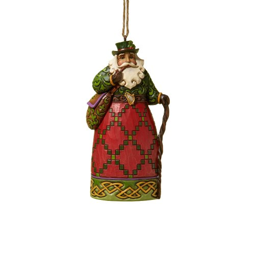 Jim Shore Heartwood Creek Irish Santa Stone Resin Hanging Ornament, 4.6""