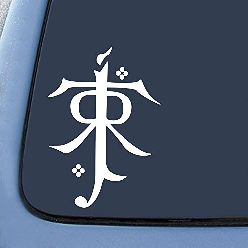 "Price comparison product image LOTR Tolkien Monogram Sticker Decal Notebook Car Laptop 5"" (White)"