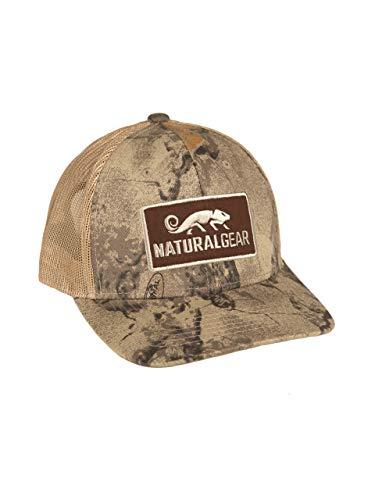 Natural Gear Trucker Hat, Baseball Hat, Unisex Polyester Hat, Camo Hunting Cap, for Men (Natural Camo Mesh, Medium Profile) (Natural Hat Gear)