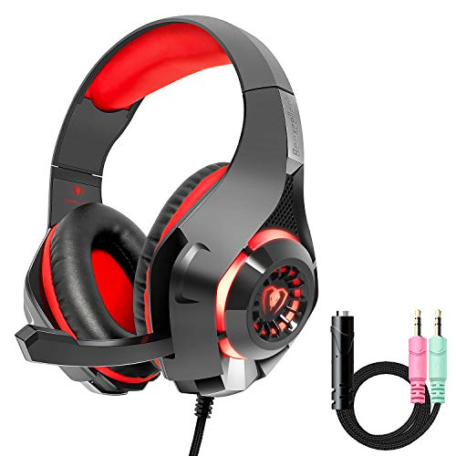 Beexcellent PS4 Xbox One Gaming Headset?2019 New? PC Mac Stereo Headphone with?Anti-Noise Flexible Mic? Polished Sturdy Shell, Enhanced Comfortable Earmuff-Red