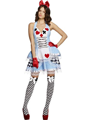 2 PC Heart Queen Miss Wonderland Blue Dress & Hair Bow Party Costume -