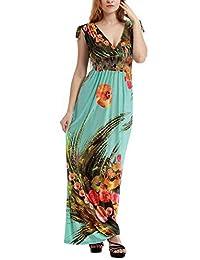 Bewish Women's Boho Sleeveless V-Neck Bohemian Summer Beach Maxi Long Dress Plus Size