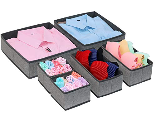 Onlyeasy Foldable Cloth Storage Box Closet Dresser Drawer Organizer Cube Basket Bins Containers Divider with Drawers for Scarves, Underwear, Bras, Socks, Ties, 6 Pack, Linen-Like Grey, MXDCB6P