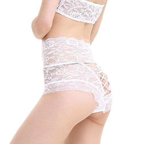 LUOEM Mutandine a vita alta in pizzo elasticizzato Mutandine a vita alta che dimagriscono addome Sexy Lingerie per signora - Taglia 3XL (Bianco)