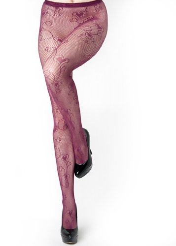 Floral Hearts Fishnet Pantyhose (Queen, Wine) ()