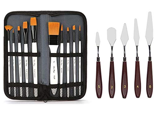 AOOK 15 Pieces Paint Brush Set, Professional Paint Brushes Artist for Watercolor Oil Acrylic Painting (10Cloth Bag Set…