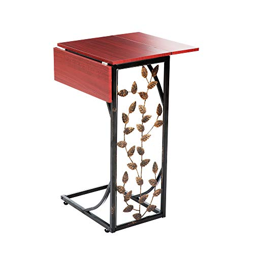 Etna Sofa Side Table Perfect for Your Night Stand, Bedside, Couch, Living Room, TV Trays - Expandable 2 Leaf - Metal and Dark Brown Wood Top with Leaf Design C Shaped Snack Narrow End Table (Bed Tv End Stand)