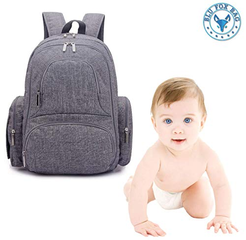 Baby Diaper Bag Backpack, Water-Resistant with Stroller Straps, Insulated Pockets, Multi-Functional Travel Bag Includes Changing Pad and Tote Insulated Bottle Bag