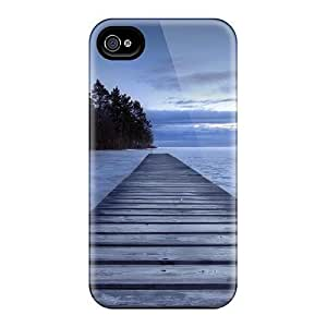 New Case Defender case cover For Iphone 4/4s, Wooden Pier In A Cove rRXAJZ6eMeA At Dusk Pattern