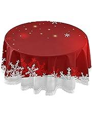 xigua Kerst Sneeuwvlok Ronde Tafelkleed Wasbaar Polyester Tafelhoes 60 inch voor Hallloween, Thanksgiving en Kerst Party Decor