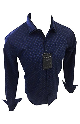 Men's Caviar Dremes Designer Woven Button Up Shirt Navy Blue Abstract Geometric Print CD4564 (2XL) Abstract Button