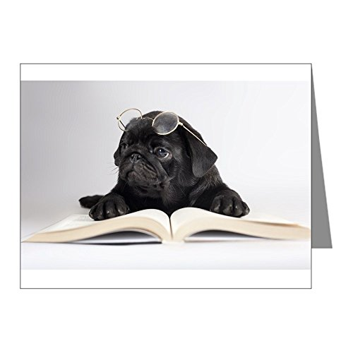 Pug Stationery - CafePress - Black Pug Note Cards - Blank Note Cards (Pack of 20) Glossy