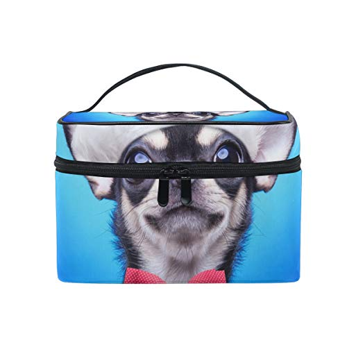 Hengpai Dogs Funny Chihuahua Santa Claus Hat Blue Cosmetic Bag Travel Makeup Train Cases Storage Organizer for Women