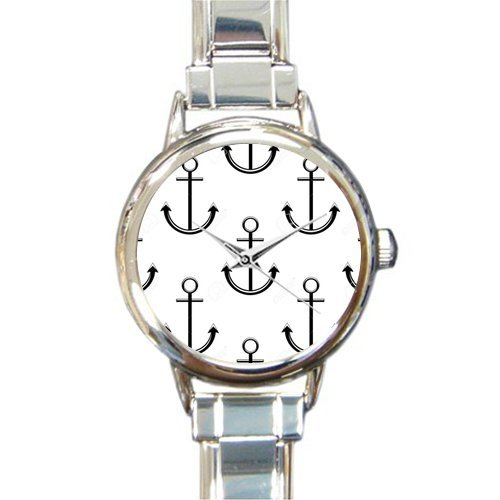 Christmas Day Gift Seamless Black and White Background Pattern of Ships Anchors Suitable for Nautical Round Italian Charm stainless steel Watch