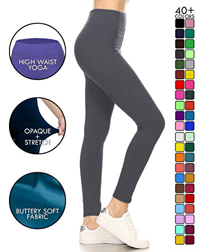LYR128-CHARCOAL Yoga Solid Leggings, One Size