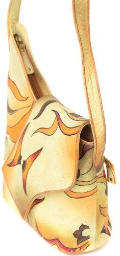 Zimbelmann Damen Schultertasche aus echtem Leder - Nappaleder - handbemalt - Sophie