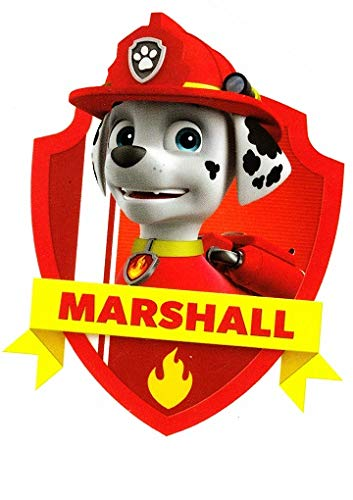 4 Inch Marshall Badge Paw Patrol Pup Wall Decal Sticker Pups Puppy Puppies Dog Dogs Removable Peel Self Stick Adhesive Vinyl Decorative Art Kids Room Home Decor Children 3 x 4 inches