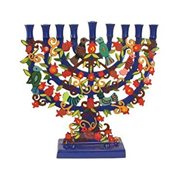 Yair Emanuel Large Blue Menorah with a Tree Design and Birds in Lazer-Cut Metal ()
