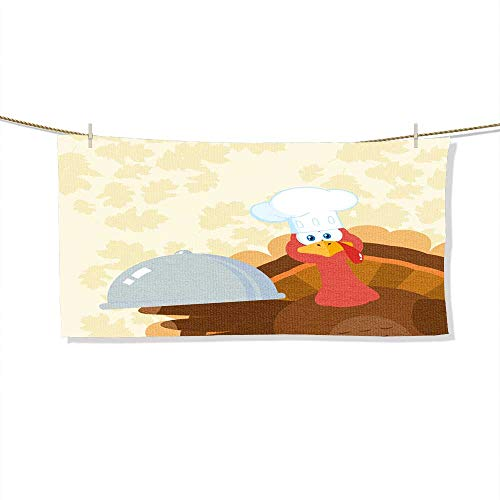 (FootMarkhome Custom Patterned Towel, Turkey Chef Cartoon Mascot Character Peeking from A Corner and Holding A Cloche Platter Velour Beach Towel-Size:27.6