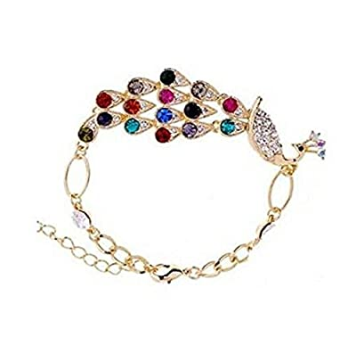 Leegoal Multi Vintage Colorful Crystal Peacock Bracelet Bangle