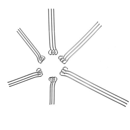 Head Lion Pin (VALYRIA 1500pcs Stainless Steel Eye Pins Findings Head Pins 20mm-50mm( 6/8