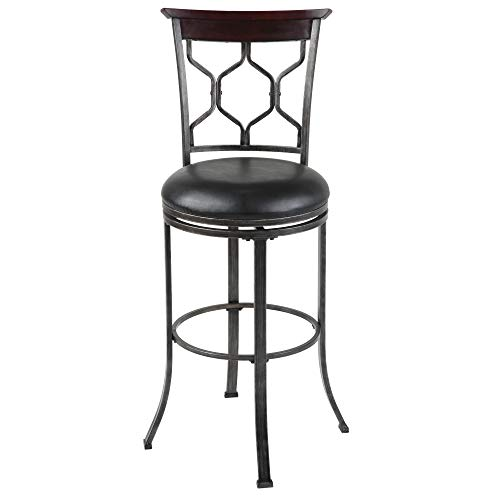 Leggett Platt Tallahassee Swivel Seat Bar Stool with Heritage Silver Finished Metal Frame and Black Faux Leather Upholstery, 30-Inch Seat Height