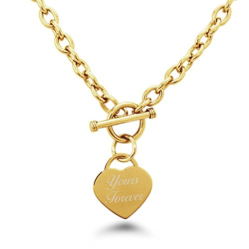 (Gold Plated Stainless Steel Engraved Yours Forever Heart Tag Charm Necklace)