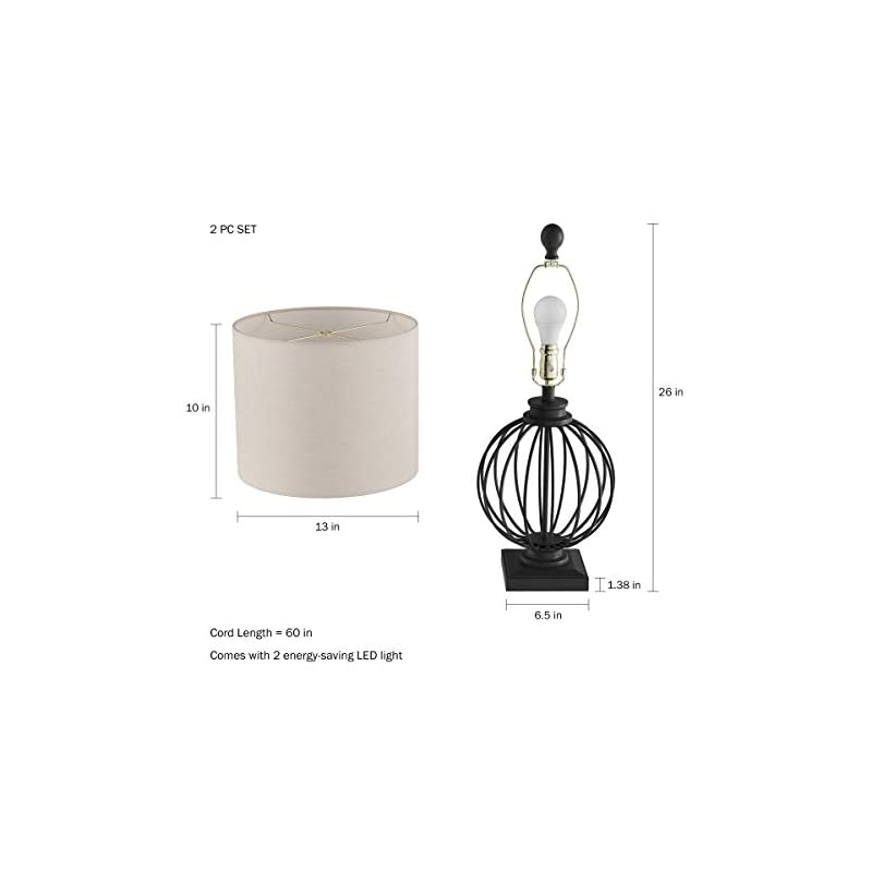 """Home Table Lamps-Set of 2 Wrought Iron Open Cage Orb Lights, Bulbs Shades Included-Modern Rustic Decor Lavish, 13"""" L x…"""