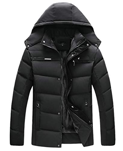 Black Jacket Down Parka Puffer Gocgt Winter Men's Lined Coat Outerwear Fleece Casual Hooded SxYU7qIw