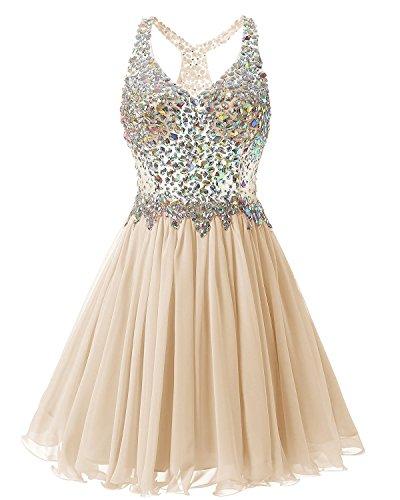 Fanciest Women's Beaded 2020 Prom Dresses Short Bridesmaid Homecoming Dress Champagne US6