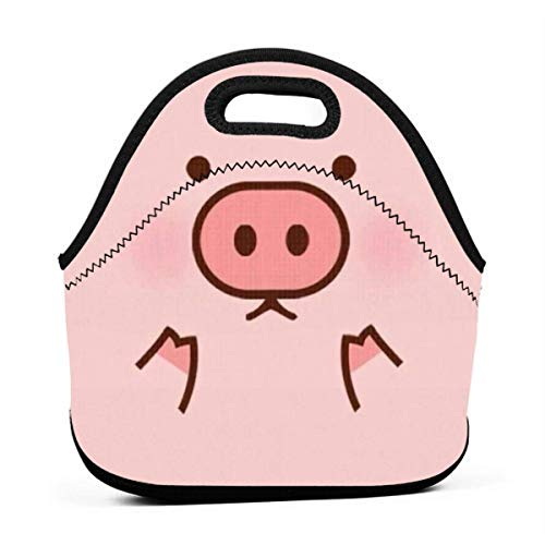 Lunchbox Piggy Cute Pig Cartoon Patterned Pink Lunch Tote Bag Container for Men Women Adults, Work/School/Meal Prep Lunch Organizer Compact Handbag Portable Grocery Container -