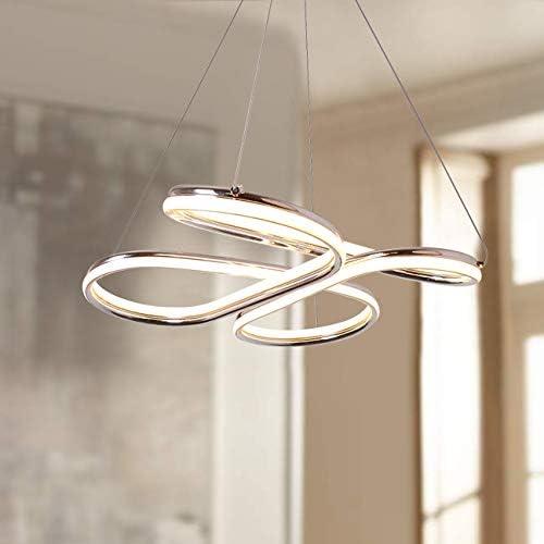 Leniure Gold Modern LED Light Pendant Lamp Chandelier Lighting Fixture 19 inch Wide 3.5 inch High Warm White 3000K