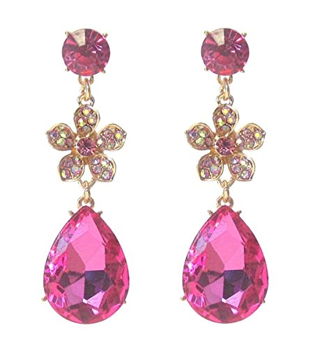 Fancy Dangle Earrings Z11 Pink Aurora Borealis Austrian Crystal Post Gold (Aurora Borealis Austrian Crystal)