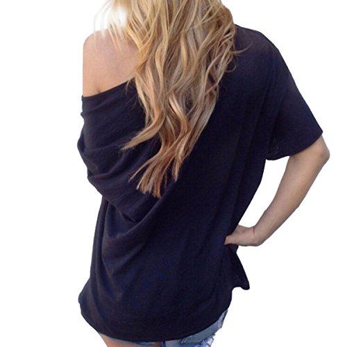 TININNA Moda Camiseta,Mujer verano casual suelto manga corta blusa de las tapas ocasionales de la camiseta Tops-negro XL: Amazon.es: Hogar