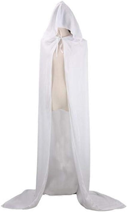 CHSYOO manto con capucha blanco capa larga con capucha para ...