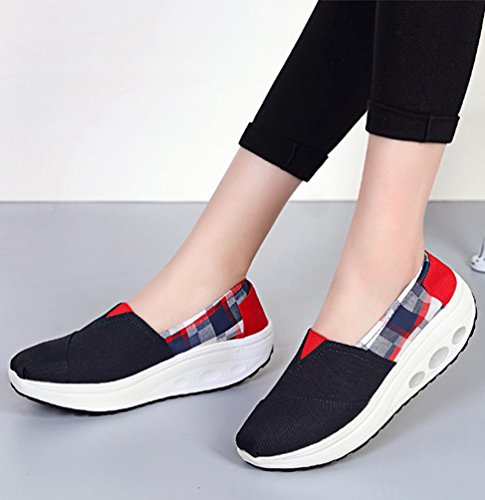 LINNUO Women Platform Sneakers Striped Canvas Wedge Heel Shoes Slip On Driving Loafers Walking Running Thick Bottom Shoes Black 8g2QdkE3I