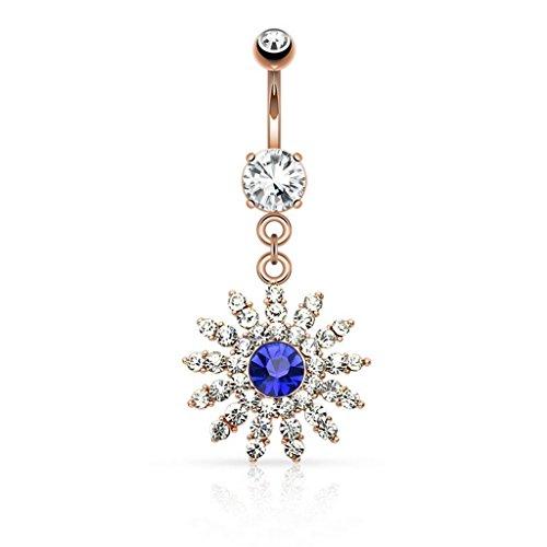 Piercing nombril Paved Gem Fleur doré à l'or fin - Couleur: Rose Or/Clair/Bleu