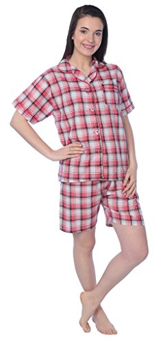 Women's Cotton Woven Short Sleeve Short Leg Pajama Set JLPJ-2_SB Pink/White L (Sb Supreme)