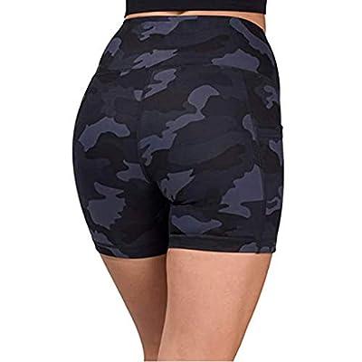 Ulanda High Waist Yoga Shorts for Women Tummy Control Athletic Workout Running Shorts Tie Dye Yoga Pants with Pockets: Clothing
