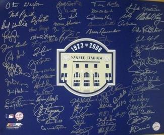 New York Yankees signed 16x20 Photo 2008 Yankee Stadium Final Season Logo with 70 sigs-BAS Holo- Moose Skowron/Bobby Richardson - Beckett Authentication