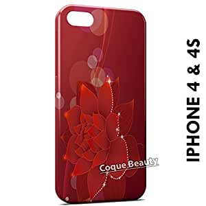 Carcasa Funda iPhone 4/4S Red Flowers Protectora Case Cover