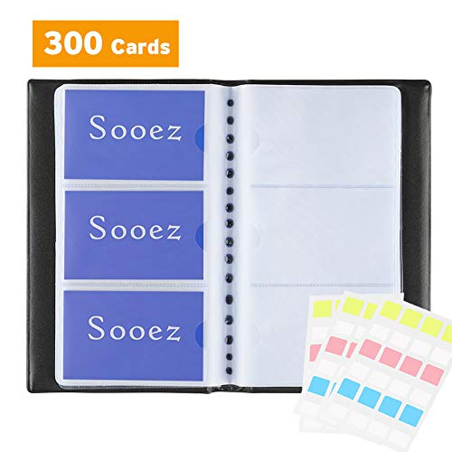 (Business Card Book Holder Organizer with Larger Capacity - Compact Size - Made from Premium PU Leather & Durable PP Plastc - Easy to Insert & Remove - Hold 300 Cards Black, 1 Pack)
