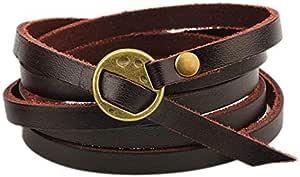 Handmade Leather Bracelet Punk Style Brown