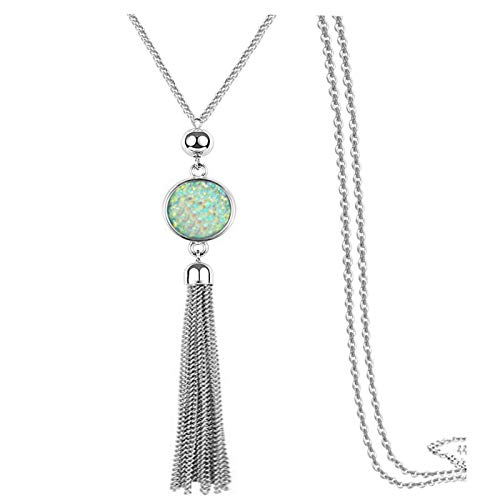 Sweater Chain and Tassel Long Necklace Bar Y Lariat Drop Pendant for Women