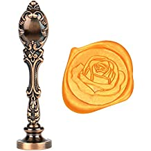 Jiulyning The Rose Wax Seal Stamp Vintage Sealing Red Brass Color Handle