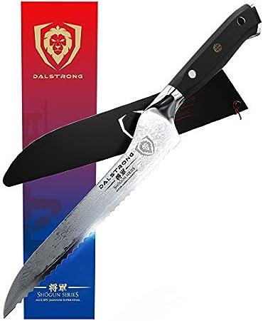 DALSTRONG Cuchillo de Sierra Inclinado para Pan y Deli - Shogun Series- Acero Japonés AUS-10V de 67 Capas - Tratado al Vacío - 20 cm - Funda Incluida