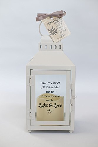 The Grandparent Gift Co. Light and Love Lanterns - Child or Infant Loss Memorial Lantern with Flickering LED Candle - Beautiful Bereavement/Sympathy Gift - 10