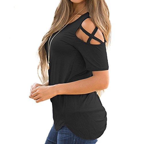 Tops Negro Camisetas Sólido Manga T Camiseta Mujer Corta Redondo Casual Ropa Basicas Color Shirt Cuello Basic Hombros Verano Descubiertos prTwUqp