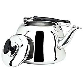 AMFOCUS Stainless Steel Whistling Teakettle, Stove Top Tea Pot, 4 Liter