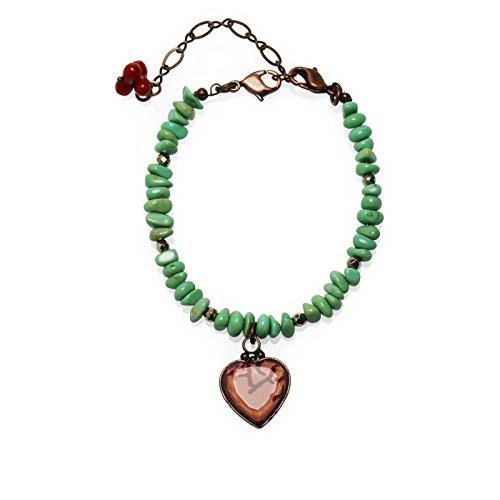 Tamarusan Bracelet Coral Turquoise Coral Red Handmade Nickel Free Heart by TAMARUSAN